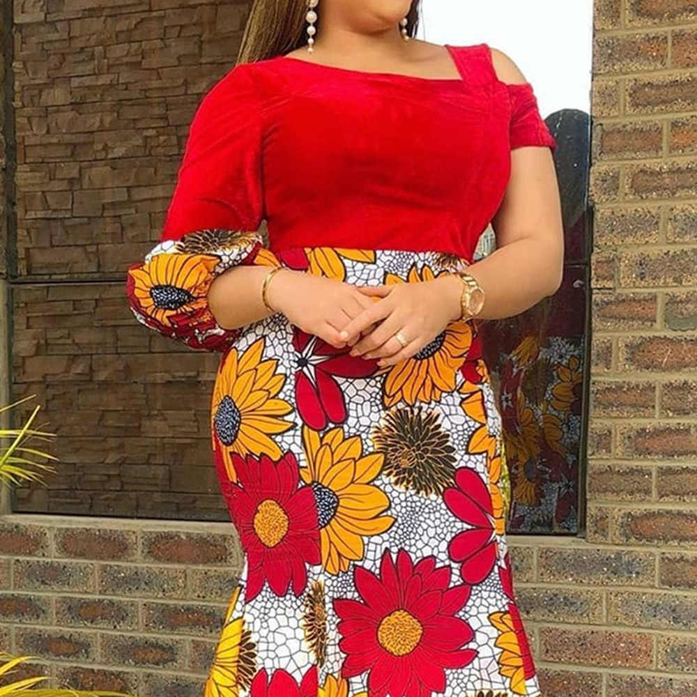 พิมพ์ดอกไม้แอฟริกาMermaidชุดยาวผู้หญิงElegant PlusขนาดProm Party DressesสีแดงPatchworkเซ็กซี่Bodycon Maxi Sundress