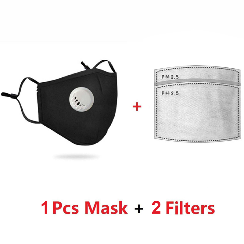 H9d3a21cb59d8469486e3bcea95a07dd2F PM2.5 Mask +2 Filters Breathe Reusable Face Mask Anti For Outdoor Sports Travel Resist Dust Germs Allergies Mask