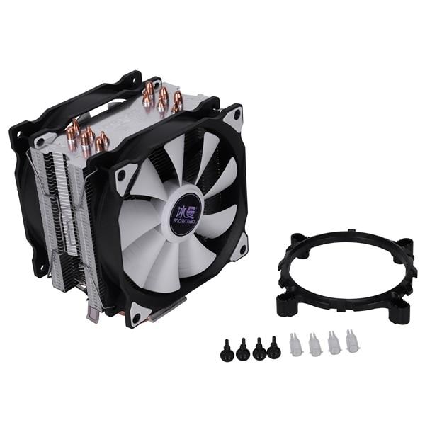 SNOWMAN 4PIN CPU cooler 6 heatpipe Double fans cooling 12cm fan LGA775 1151 115x 1366 support Intel AMD 4