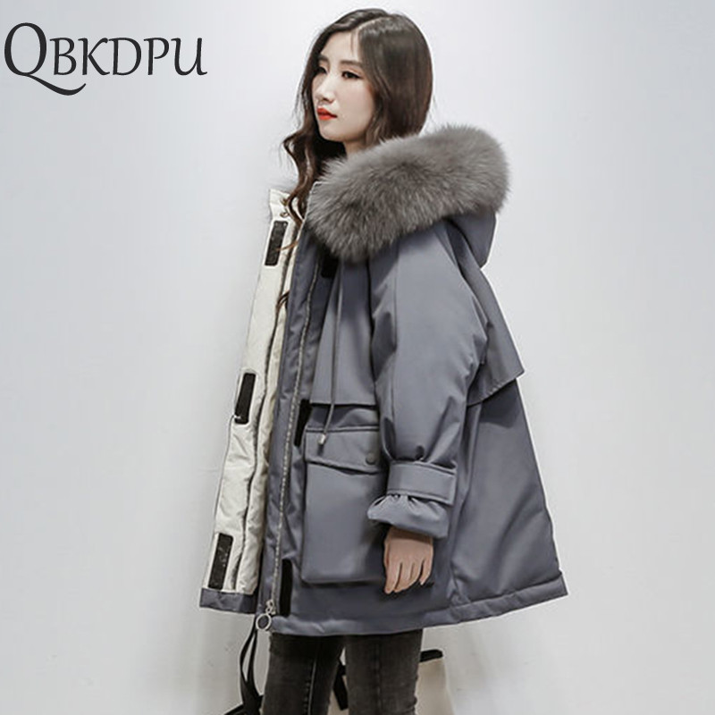 Fake Fox Fur Collar Hooded Down Cotton Outwear 2019 Winter New Thick Women Loose Coat   Parka   Female Thick Warm Plus Size Jacket