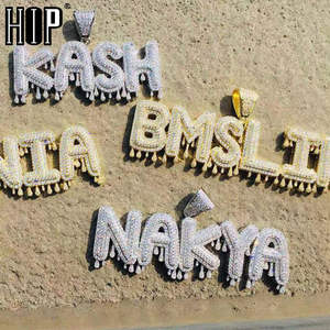 Hip Necklaces Jewelry Chain Pendants Bubble-Letters Drip Custom-Name Iced-Out Crown Men