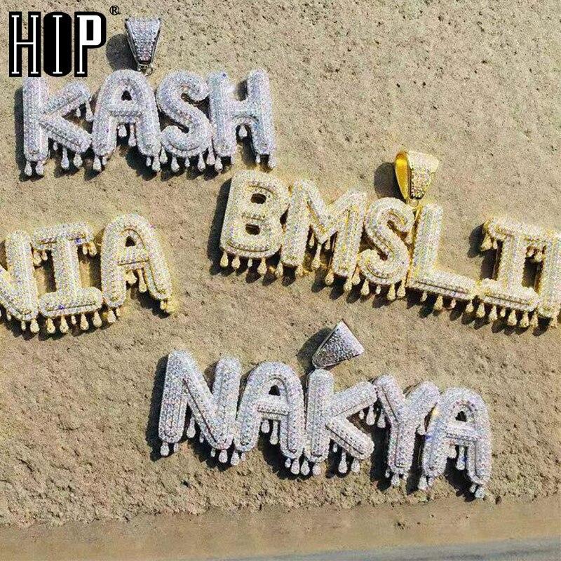 Pingentes & colares da corrente das letras da bolha do gotejamento cúbico da coroa do zircão do nome feito sob encomenda do hip hop para fora gelado
