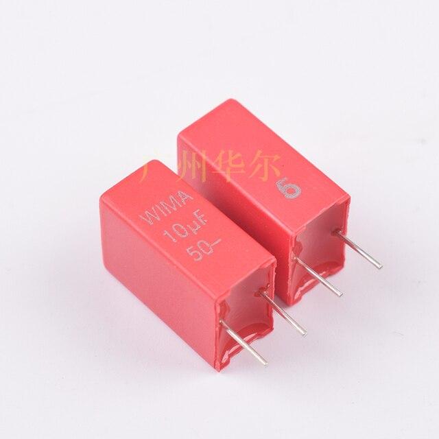 10PCS החדש אדום גרמניה WIMA MKS2 10 UF/50 V 5% P5mm אודיו סרט קיבול 106/50V MKS 106 50V P5 מכירה לוהטת 10U 50vdc (J)