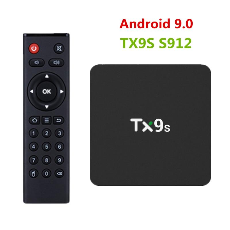 2019 New TX9s TV Box 2GB RAM 8GB ROM Android 9.0 TV Box Amlogic S912 Octa Core Set Top Box 2.4GHz Wifi 4K 1000M LAN Media Player