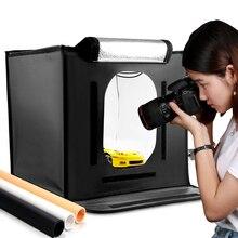 Travor f40 tenda de luz dobrável com led, softbox de estúdio fotográfico com caixa de iluminação 40*40, acessórios de fundo preto branco amarelo luz clara