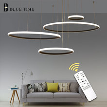 40 60 80 100cm Rings Modern Led Pendant Light For Dining room Living Kitchen Lamps Black White Gold Ceiling