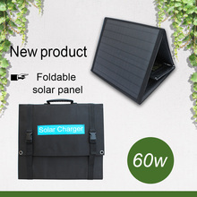 outdoor dual USB ports 60w foldable solar charger 18v DC port portable folding solar panel for phone laptop tablet xionel solar charger 40w portable solar panel foldable 5v usb 18v dc dual output charger for phone laptop tablet