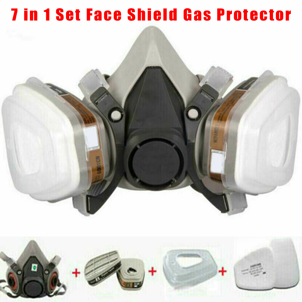 7 In 1 Suit 6200 Face Mask PM2.5 Half Face Painting Spraying Respirator Gas Mask  Safety Work Filter Dust Mask