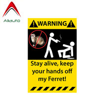 Aliauto Warning Car Sticker Stay Alive Keep Your Hands Off My Ferret Reflective Decal Accessories PVC for Toyota BMW VW,14cm*9cm(China)