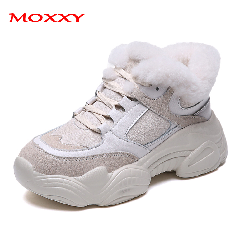 2019 New Thick Sole Women's Winter Sneakers With Fur Sneakers Warm Plush Chunky Sneakers Platform Ladies Snow Boots Shoes Woman