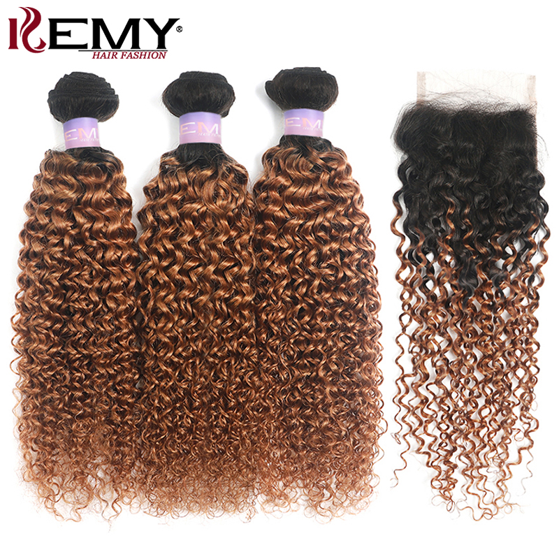 1B/30 Ombre Brown Kinky Curly Human Hair Bundles With Closure 4x4 KEMY 3PCS Brazilian Hair Weave Bundles With Closure Non-Remy