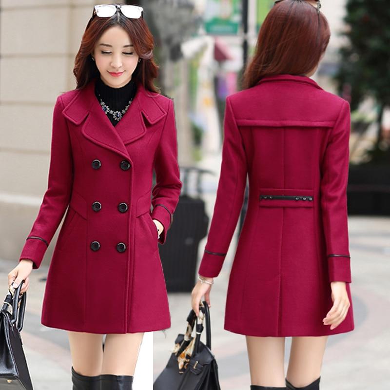 Spring Korean Slim Woolen Outwear Women Wool Coats 2020 New Double Breasted Wool Coat Overcoat Autumn Plus Size Womens Clothing
