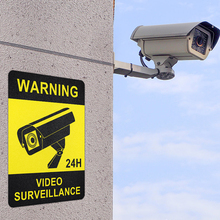 Alarm Sticker Decal-Signs Warning-Tape Surveillance-Security-Camera 4pcs Frosted-Texture