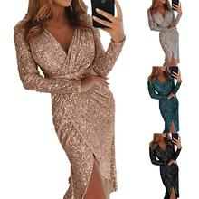 Women Sequins Long Sleeves V-Collar Flash Sexy Irregular Dress for Dinner Party Dating