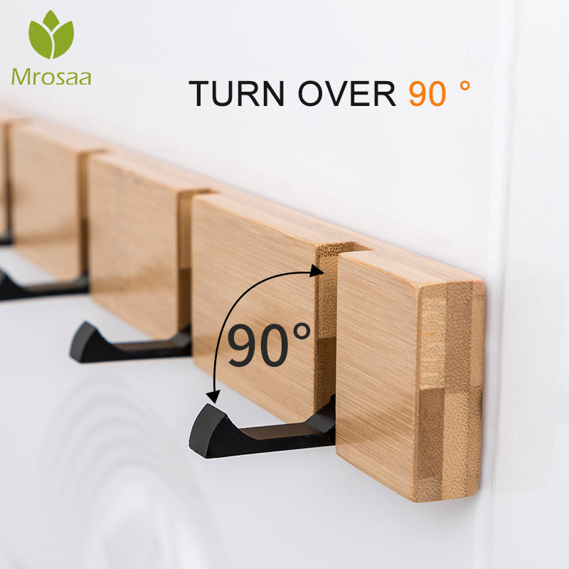 Nordic Simple Style Bedroom Door Back Coat Rack Clothes Hanger Hooks Living Room Closet Bamboo Hat Racks Keys Hanger Wall Hook
