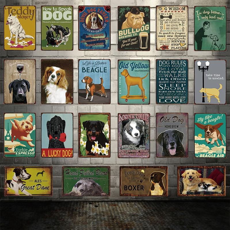 Dog Rules Bulldog Boxer Beagle Great Dane Metal Signs Lovely Tin Poster Home Decor Pub Bar Garden Wall Art Iron Tin Painting