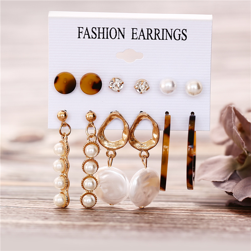 H9d3b27f0932d4904821b1b06866e0b194 - IF ME Fashion Vintage Gold Pearl Round Circle Drop Earrings Set For Women Girl Large Acrylic Tortoise shell Dangle Ear Jewelry