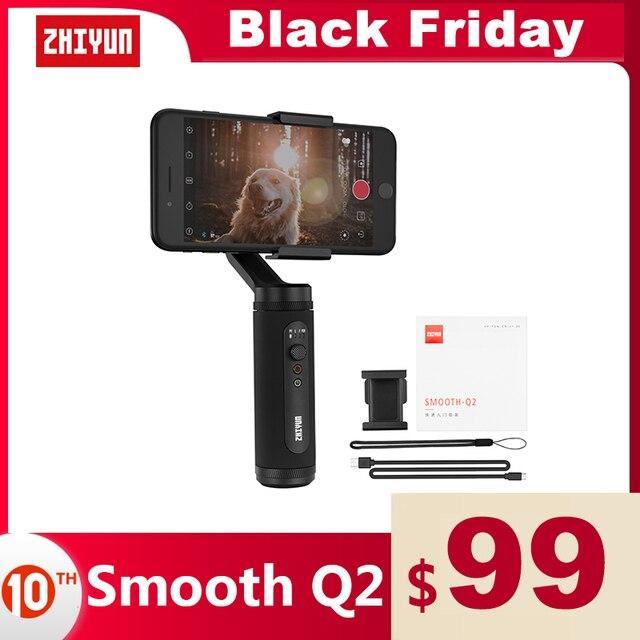 ZHIYUN SMOOTH Q2 공식 부드러운 전화 짐벌 3 축 포켓 크기 핸드 헬드 안정기 스마트 폰 아이폰에 대한 삼성 화웨이 Xiaomi Vlog