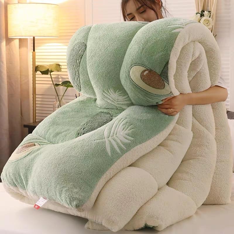 Super Warm Lamb Quilt Winter Blanket 5kg Double-sided Velvet Quilt Thickened Warm Autumn Spring Plush Comforter Core