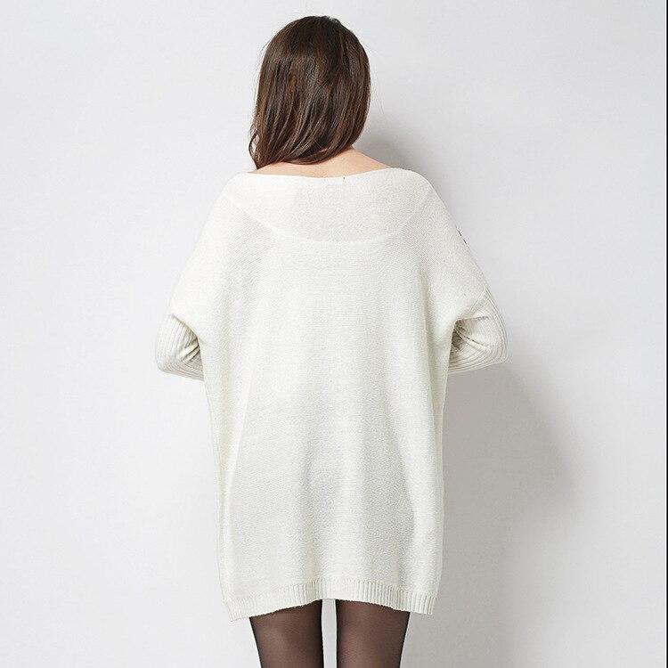 High Quality Women Fashion 2020 Elegant Pullovers Sweater Sex Slash Neck Long Sleeve Tops Female Loose Sweaters LX1842