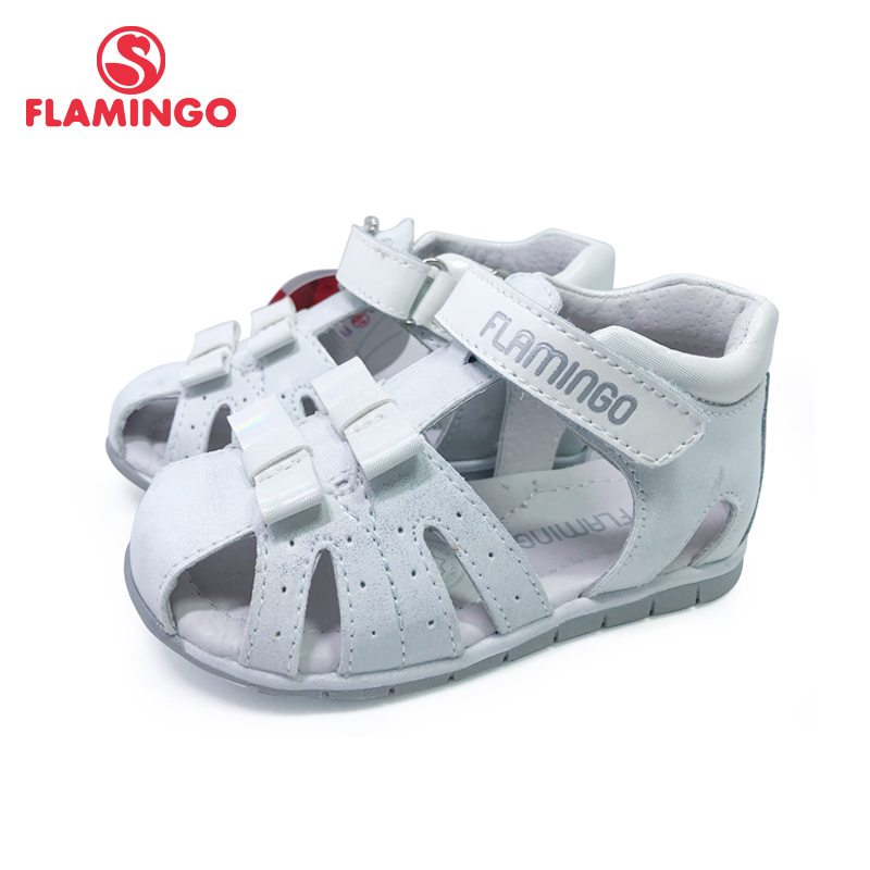 FLAMINGO Kids Sandals Hook& Loop Flat Arched Design Chlid Casual Princess Shoes Size 19-24 For Girls 201S-XY-1689