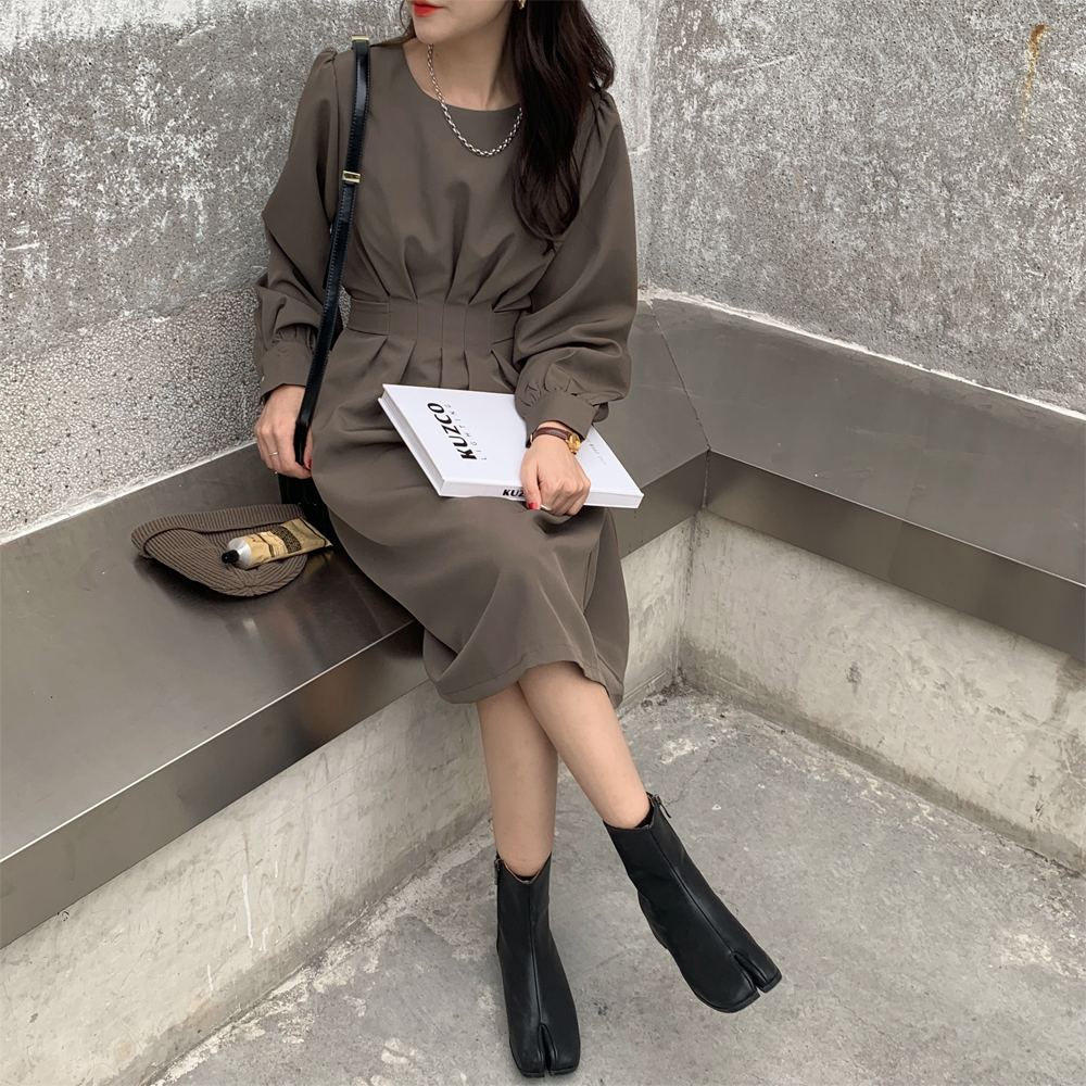 H9d3b6859c91a4bdf80ccaf34e7d4c8eeX - Autumn Korean O-Neck Long Sleeves Dark Solid Midi Dress