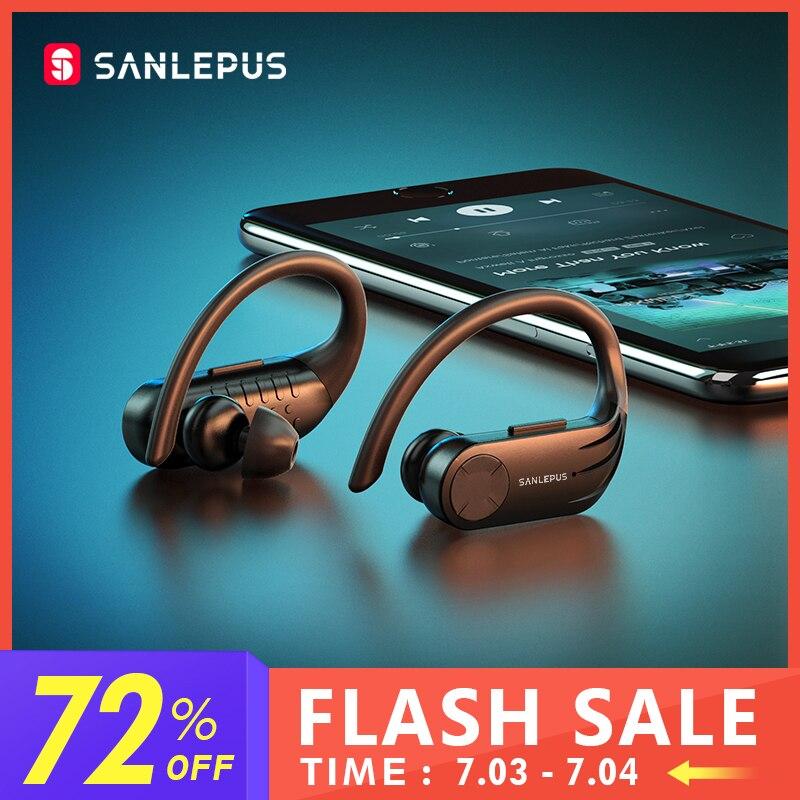 Беспроводные наушники SANLEPUS B1 со светодиодным дисплеем, Bluetooth, стереонаушники TWS, водонепроницаемая гарнитура с шумоподавлением и микрофоно...
