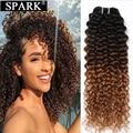 Spark 1/3/4 пряди афро кудрявые вьющиеся человеческие волосы для наращивания Омбре бразильские 100% натуральные кудрявые пучки волос Блонд корич...