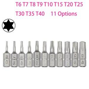 10pcs Torx Screwdriver Bit Set 1/4 Hex Shank Star T6 T7 T8 T10 T15 T20 T25 T30 T35 T40 Screw Driver Bits Home Hand Tools(China)