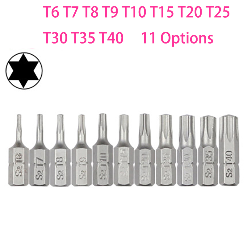 Gasea 2 Sets of 7pcs 50mm 1//4 Hex Shank Five-Pointed Star Magnetic Screwdriver Bits Set T10-T40 S2 Steel