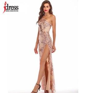 Image 3 - IDress Bölünmüş Parlak Elbiseler Zemin Pullu Bir Omuz uzun elbise için Kadın Vestidos Verano 2019 Mujer Yüksek Yarık Elbiseler
