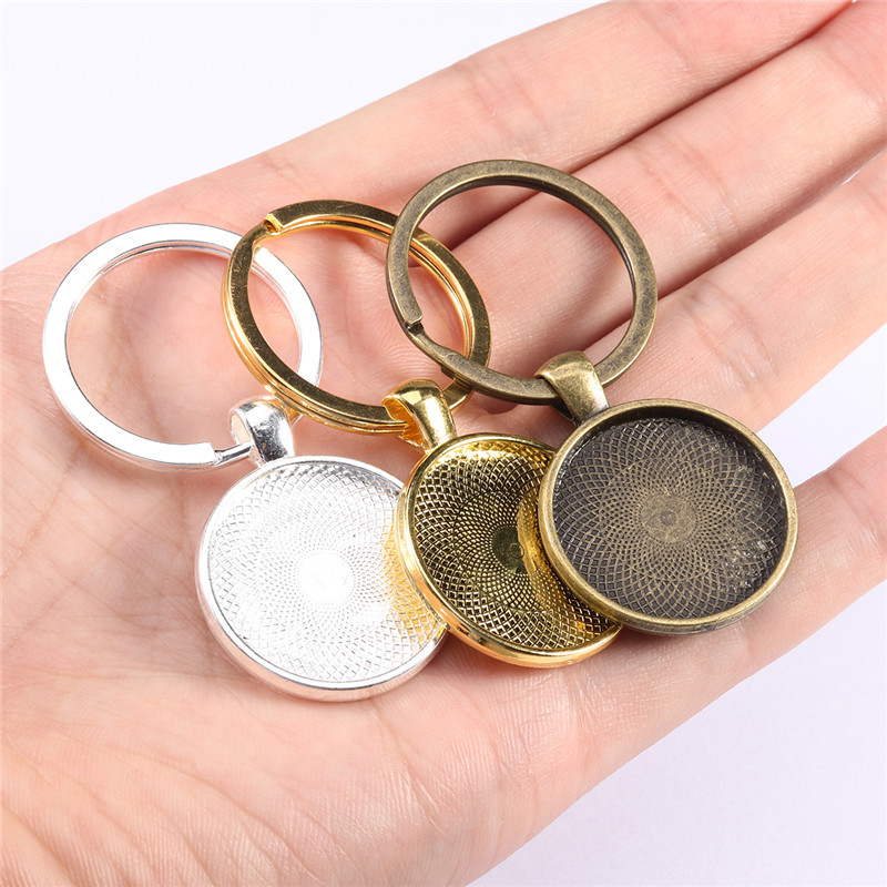 5pcs/lot Keychain With Pendant Bezel Blank Fit 25mm Cameo Glass Cabochon Base Setting DIY Keychain Key Ring Supplies For Jewelry