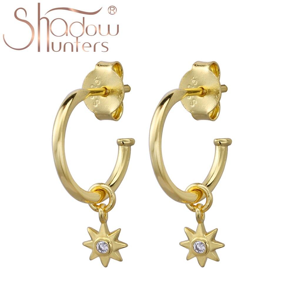 SHADOWHUNTERS Romantic 925 Sterling Silver Bundle Star Crystal Stud Earrings For Women Luxury Femme Silver 925 Jewelry