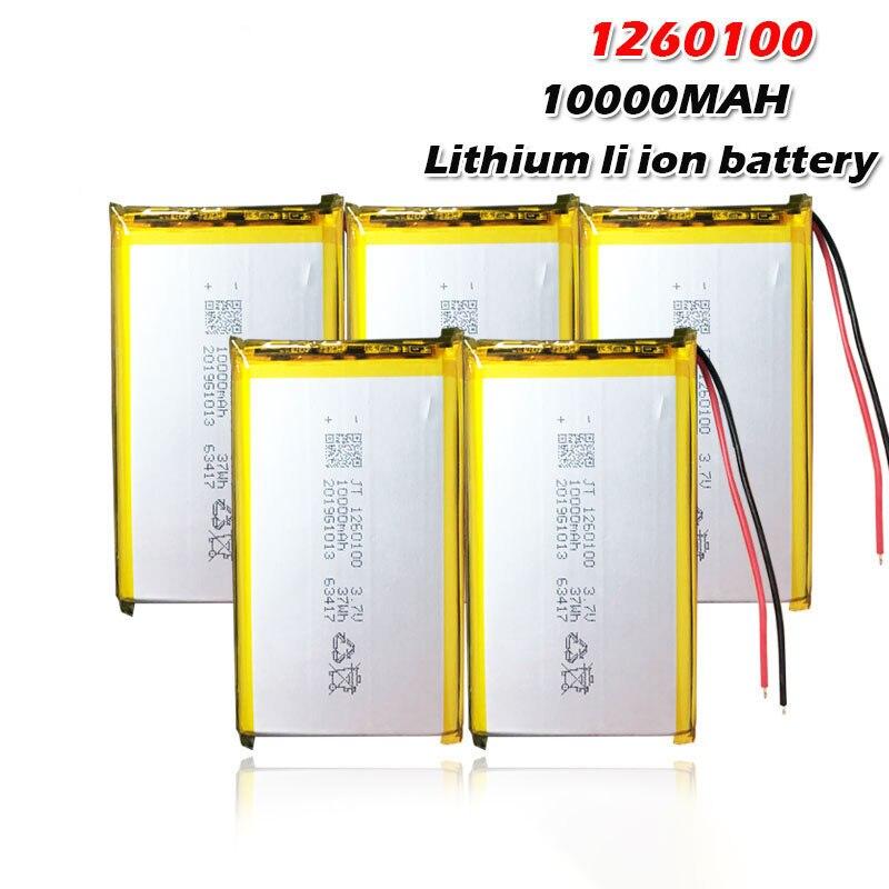 Novo 1260100 3.7v 10000mah bateria lipo recarregável para gps dvd mesa e-book câmera pda brinquedos elétricos bateria de polímero de lítio
