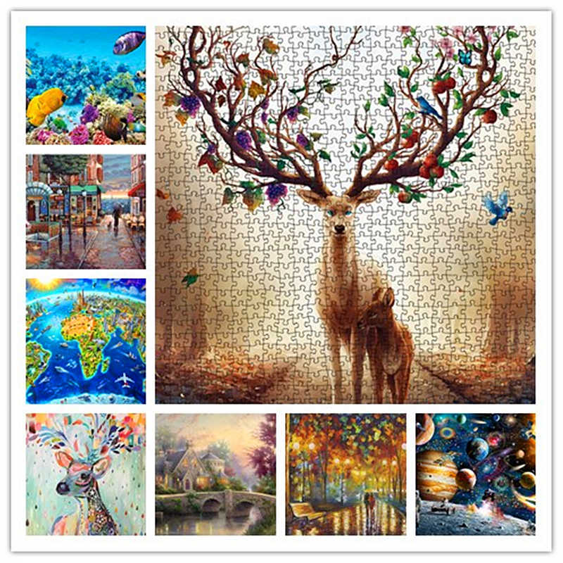 Animal Forest Puzzles for Adults 1000 Pieces Wood Jigsaw Puzzle Toy Kids Teens Children Large Puzzle Educational Intellectual Decompression Games Puzzles,Artwork for Home Decoration,Gifts