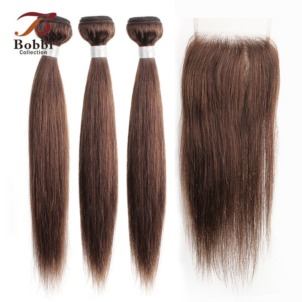 BOBBI COLLECTION Color 4 Chocolate Brown Straight Hair 2/3 Bundles With Closure Brazilian Non-Remy Human Hair Weave 12-24 Inch