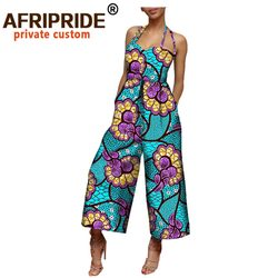 2020 african clothing women jumpsuit AFRIPRIDE sleeveless halter ankle-length wide leg casual cotton jumpsuit for women A722908