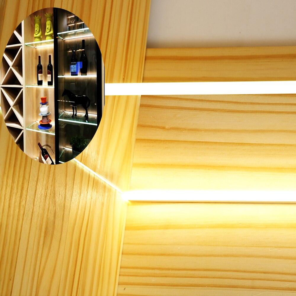 8MM LED Cabinet Glass Shelf Back Side Light Layer Splint Clip Lamp Aluminum Strip Lights Shelf Back Side Display Case Cocktail