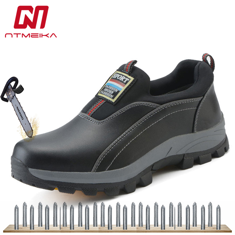 Men's Steel Toe Safety Shoes Cow Leather Material Upper And Puncture-proof Soles Slip-On Work Shoes Plus Size 35-44
