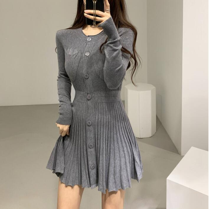 Fall Winter Sexy Women's Breasted Knit Pleated Dress