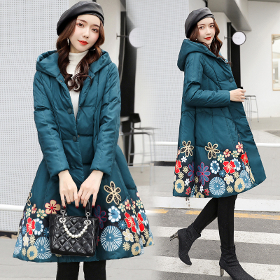 2019 Sale Promotion Floral Covered Full Pockets Broadcloth Cotton Women's Long Cloak Skirt Coat Thick Printed Ethnic Wind Parka
