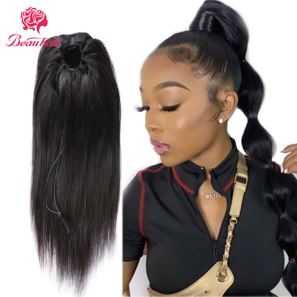 Peruvian Human Hair Straight Ponytail Drawstring Ponytail With 2 Clips Natural Hair Non-Remy Hair Extension Silky For Women