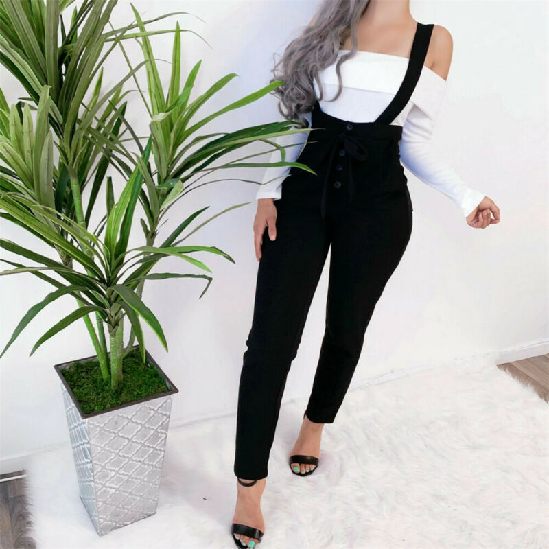 New Women Ladies Overall Jumpsuit Straps Romper High Waist Trousers Autumn Belt Bodysuits Black Khaki Gray Green