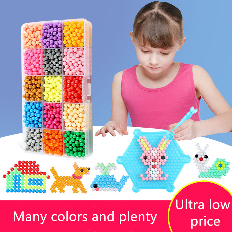 6000pcs Magic Puzzle Toys Water Mist Bead Set Boys Girls DIY Animal Handmade Sticky Beads Educational Toys Kids New Year Gifts