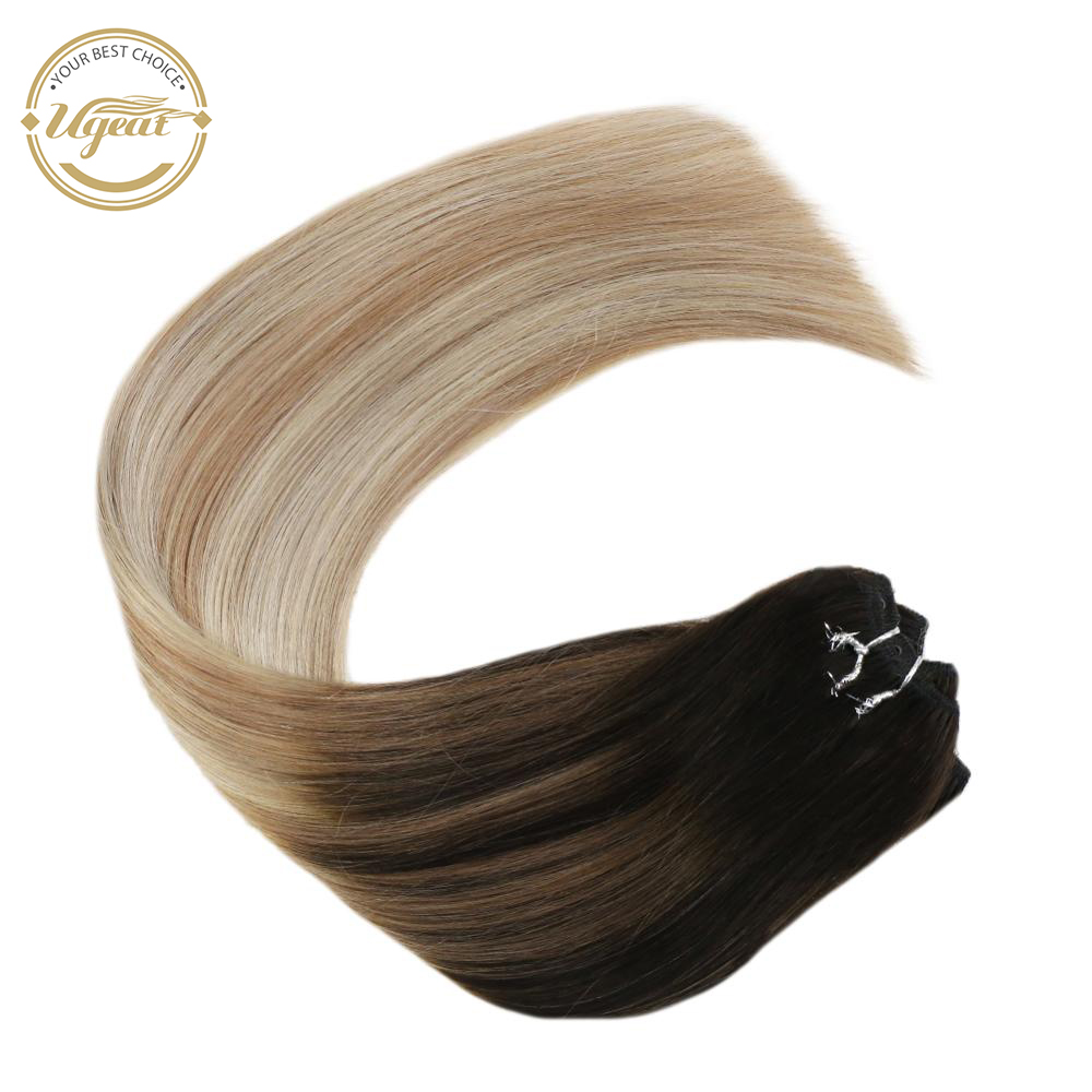 Ugeat Micro Breads Weft Human Hair Extension 100% Real Human Machine Remy Hair 50g/pack 14-24inch  Straight Natural Human Hair