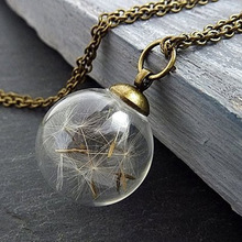 Dandelion glass cover Necklace wish pendant plant specimen dry flower hand glass ball sweater chain new trendy natural dandelion seed pendant necklace handmade transparent lucky wish glass ball long chain necklace for women gift