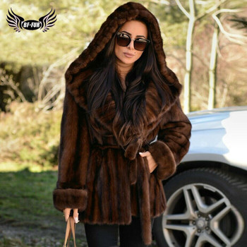 Winter Fashion Women Real Mink Fur Coat With Big Hood Thick Warm Full Pelt Genuine Mink Fur Jacket With Fur Belt Outwear Luxury kids real mink fur coat baby winter warm colourful mink fur coat child mink fur clothes kids warm jacket