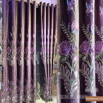 Custom curtains luxury noble high-end bedroom embroidered rich peony villa purple cloth blackout curtain tulle drape B728