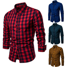 Classic Casual Men's Button Down Slim Fit Long Sleeved Dress Business Shirts Tops Modern S-2XL Slim Plaid Blouse Musle Shape