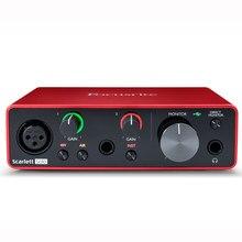 Interface de áudio focusrite scarlett solo, interface de áudio focusrite scarlett (3rd gen) usb com microfone, placa de som externa para violão e microfone
